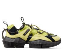 Diamond Trail/m Sneakers aus tennisballgelbem und schwarzem Stretch-Mesh mit Lederdetails