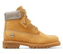 JC X Timberland/m Stiefel aus weizenfarbenem Nubukleder mit kristallverziertem Schuhkragen