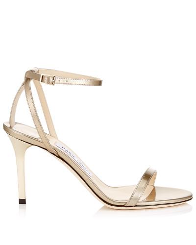 Minny 85 Sandalen aus flüssigem Glanzleder in Gold