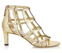 Tina 65 Sandalen aus goldenem Nappaleder in Metallic-Optik mit silbernen Nieten