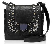 Lockett XB Handtasche aus schwarzem genarbten Leder mit Zebra-Relief und Nietendetails
