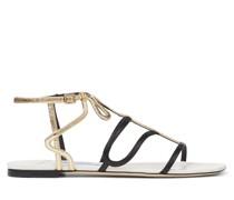 Vice Flat Flache Sandaletten aus Nappaleder in Latte und Schwarz und Craquelé-Leder in Gold