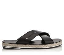 Cliff Sandalen aus weichem schwarzen Vachette-Leder