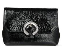 Soft Madeline Kleine Tasche aus schwarzem Textur-Lackleder mit Kristallschnalle