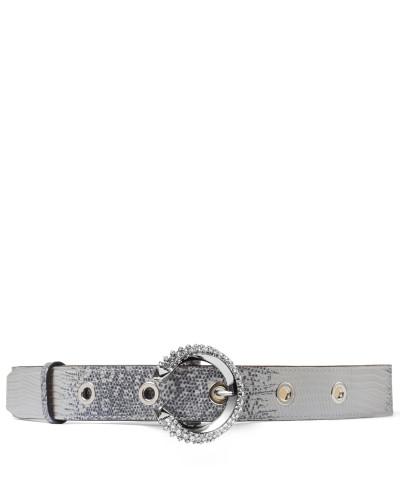 Madeline Belt Gürtel aus porzellanfarbenem Leder mit Eidechsen-Print und Kristallschnalle
