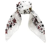 Star Viereckiges Halstuch aus Seide mit schwarzem und weißem Print