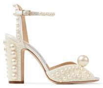 Sacaria 100 Sandaletten aus weißem Satin mit Perlenverzierung