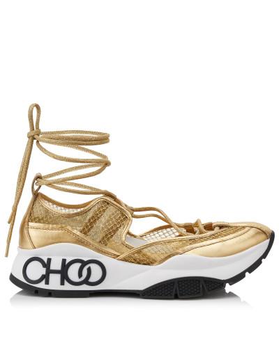 Michigan Sneaker aus Metallic-Netzgewebe und goldfarbenem Lacknappaleder mit Espadrille-Riemen