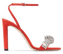 Thyra 100 Sandaletten aus Wildleder in Mandarin-Rot mit Kristall-Pavé