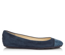 Gaze Flat Ballerinas aus dunkelblauem Wildleder mit Zehenkappe aus Denim in Metallic-Optik