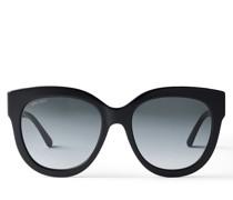 Jill Cat-Eye Sonnenbrille aus Glitzer-Acetat in Schwarz mit goldenem JC Emblem