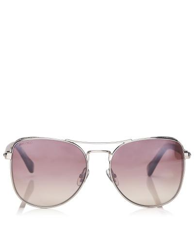 Sheena Aviator Sonnenbrille aus Metall in Palladium und geperlten Brillenbügeln in Nude