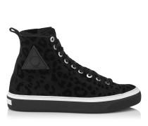 Boris Schwarze Sneaker mit Leopardenmotiv und Shearling- Fütterung