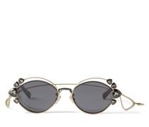 Shine Sonnenbrille in schwarzem Ruthenium mit grauen Gläsern und Clip-On Kettenverzierung