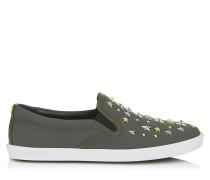 Demi Sneaker aus Militärsgrünem Gummileder mit Sternen