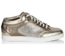 Miami Sneaker aus champagnerfarbenem Glitzergewebe und Wildleder