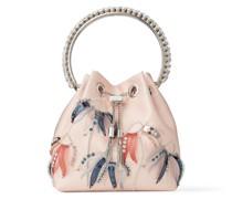 BON BON Handtasche aus Grosgrain-Gewebe in Ballettrosa mit floralen Juwelenstickereien