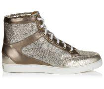 Tokyo Sneaker aus champagnerfarbenem Glitzergewebe und Wildleder