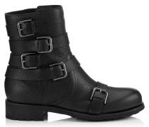 Dawson Flat Flache Stiefel aus schwarzem genarbtem Leder