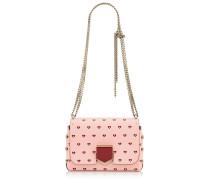 Lockett Petite Handtasche aus bedrucktem Leder in Kamelie mit roten Herzen