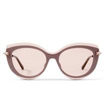 Clea Cat-Eye Sonnenbrille in Nude und Kupfer mit goldenen Spiegelgläsern