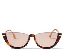 Iona Cat-Eye Sonnenbrille aus Acetat in dunklem Havana mit pinken Spiegelgläsern