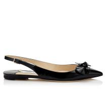 Blare Flat Flache Slingback Schuhe aus schwarzem Lackleder