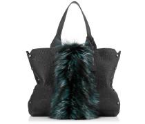 Lockett Shopper Handtasche aus schwarzem genarbtem Leder mit flaschengrünem Fell