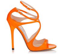 Lance Sandalen aus orangenem Neon-Schlangenleder