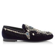 Sloane Mokassin aus dunkelblauem Samt mit Kristall und bestickten Perlen