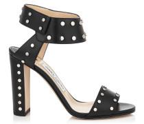 Veto 100 Sandalen aus schwarzem glänzendem Leder mit Nietendetails