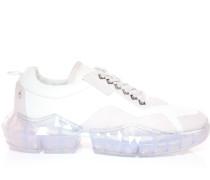 Diamond/m Sneaker aus weißem Kalbs- und Wildleder mit Plateausohle