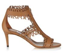 Megan 65 Sandalen aus glänzendem Leder mit Laser-Ausschnitten