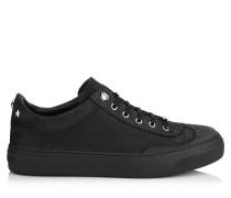 ACE Low-Top-Sneaker aus schwarzem gelöchertem Relief-Nubukleder mit stahlfarbenen Sternen