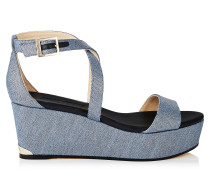 Portia 70 Wedges mit Keilabsatz aus Denim in Dämmerungsblau mit Metallic-Optik