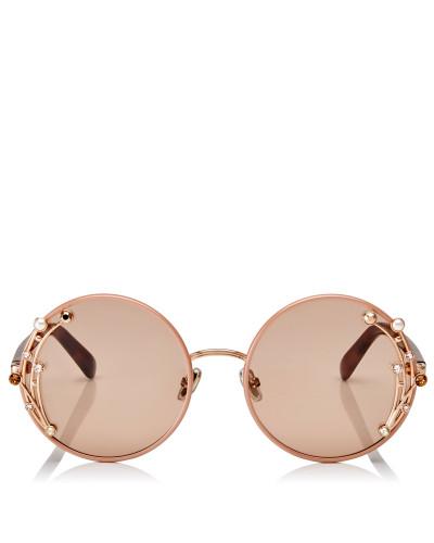Gema Runde Metall-Sonnenbrille in Nude mit Swarovski Kristallen und Perlen