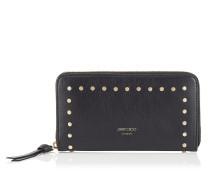 Pippa Brieftasche mit umflaufenden Reißverschluss aus schwarzem Leder mit runden Nieten