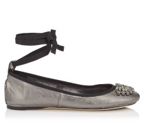 Grace Flat Ballerinas aus anthrazitfarbenem Nappaleder in Metallic-Optik mit Schleife