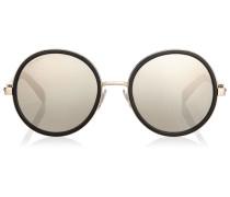 Andie Runde Sonnenbrille aus schwarzem Azetat und grau-silbernen Kristall-Details