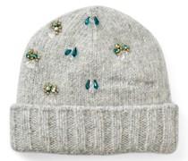 Clara Mütze aus hellgrauem Kaschmir und Alpakawolle mit Kristallverzierung