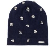 EVA Mütze aus dunkelblauem Kaschmir-Mix mit Kristallverzierung