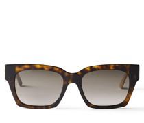 JO Eckige Sonnenbrille aus Acetat in Havana-Braun und Glitzer-Nude mit goldenem JC Emblem