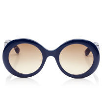 Wendy Blaue Sonnenbrille mit rundem Gestell und Details aus Lurex