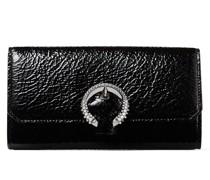 Wallet W/Chain Kleine Tasche aus schwarzem Textur-Lackleder mit stahlfarbener Kristallschnalle