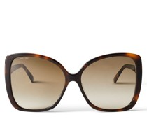 Becky Oversize-Sonnenbrille in dunklem Havana-Braun mit Swarovski-Kristallverzierung
