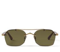 KIT Eckige Sonnenbrille aus semi-mattem Kupfer und grünen Spiegelgläsern