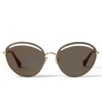 Malya Ovale Sonnenbrille in Rose Gold mit goldenem Glitzer-Lamé