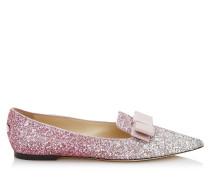 Gala Spitze flache Schuhe aus Glitzergewebe mit Dégradé in Platin und Flamingo mit Schleife
