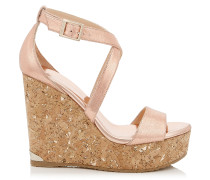 Portia 120 Wedges aus Leder mit Print in Teerose und Metallic-Optik