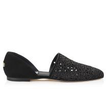Globe Flat Flache Schuhe aus schwarzen Wildleder mit Laser-Ausschnitt und Kristallen